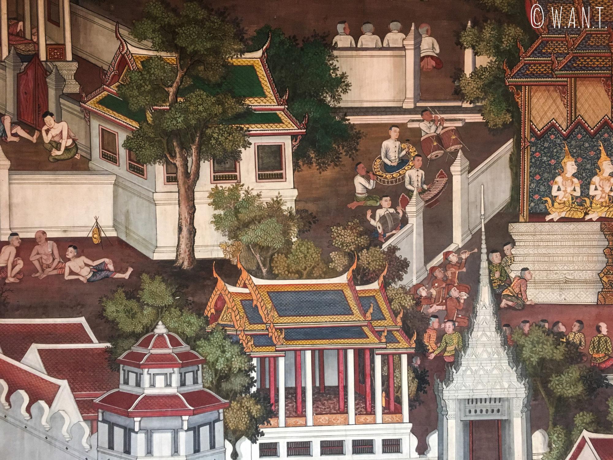 Gros plan sur les peintures du temple situé à côté du Wat Arun de Bangkok