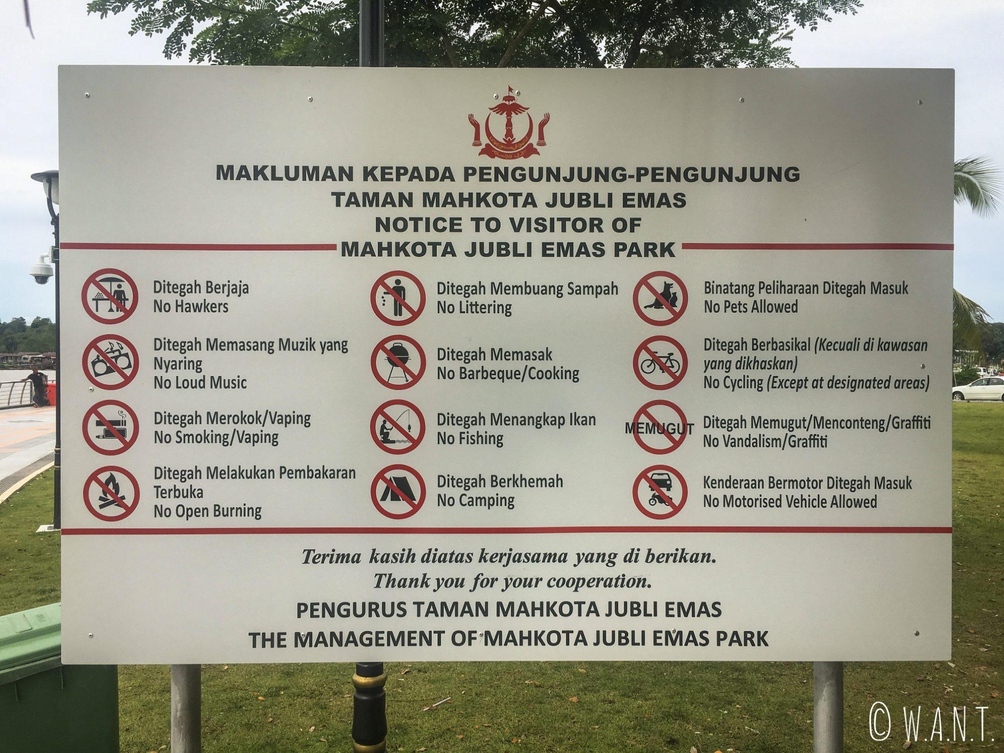 Les interdictions sont explicitées clairement à Bandar Seri Begawan