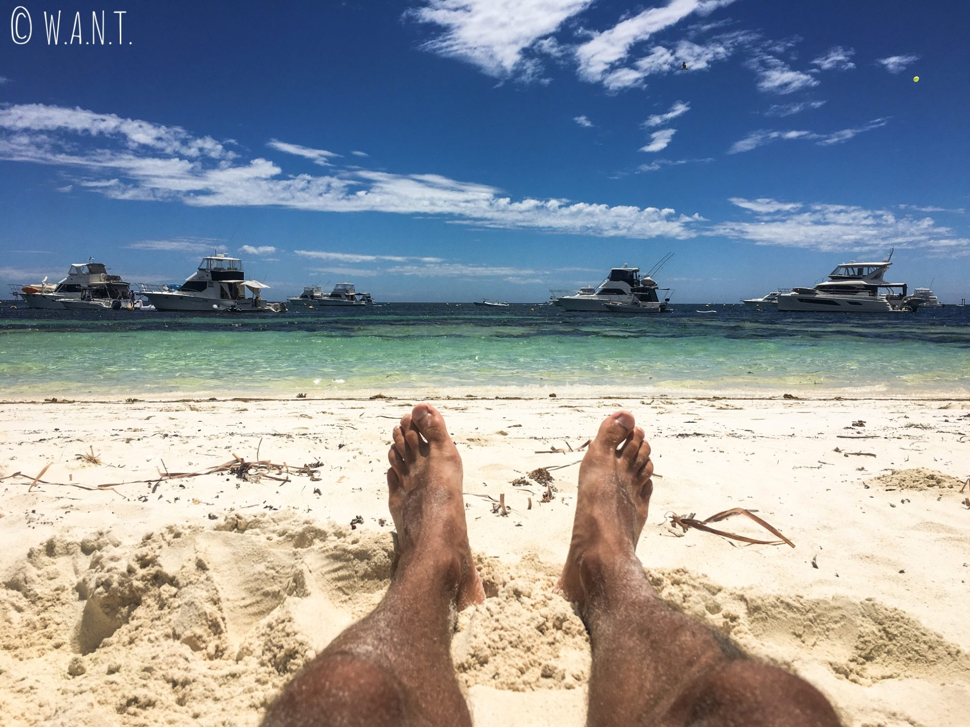 Benjamin, les pieds dans le sable de Narrow Neck sur Rottnest Island