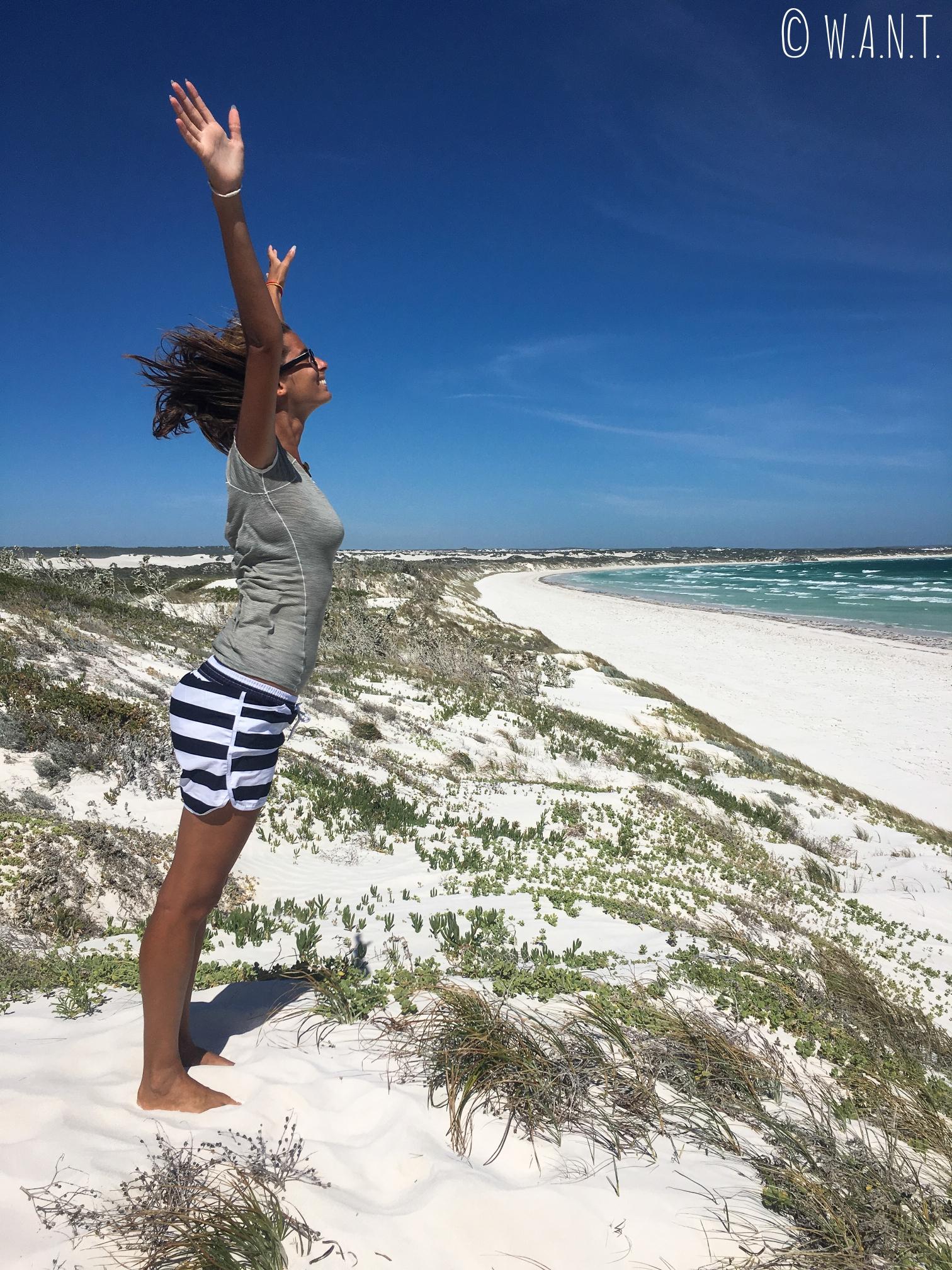 Le vent est tellement fort sur Wedge Island au nord de Perth