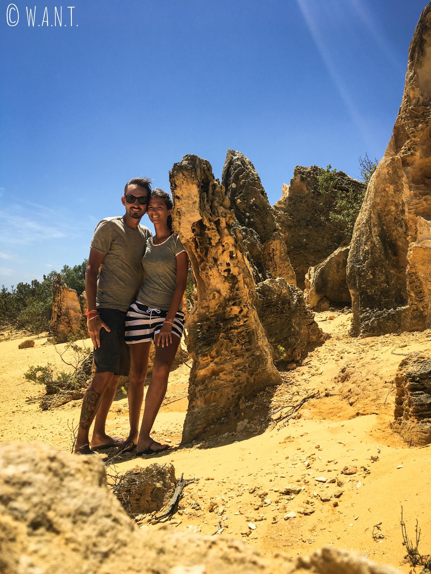 Nous sommes heureux de cette visite aux Pinnacles près de Cervantes