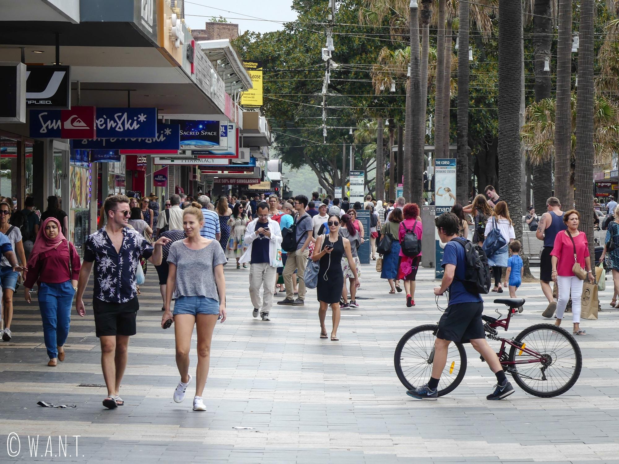 Rue principale de Manly près de Sydney
