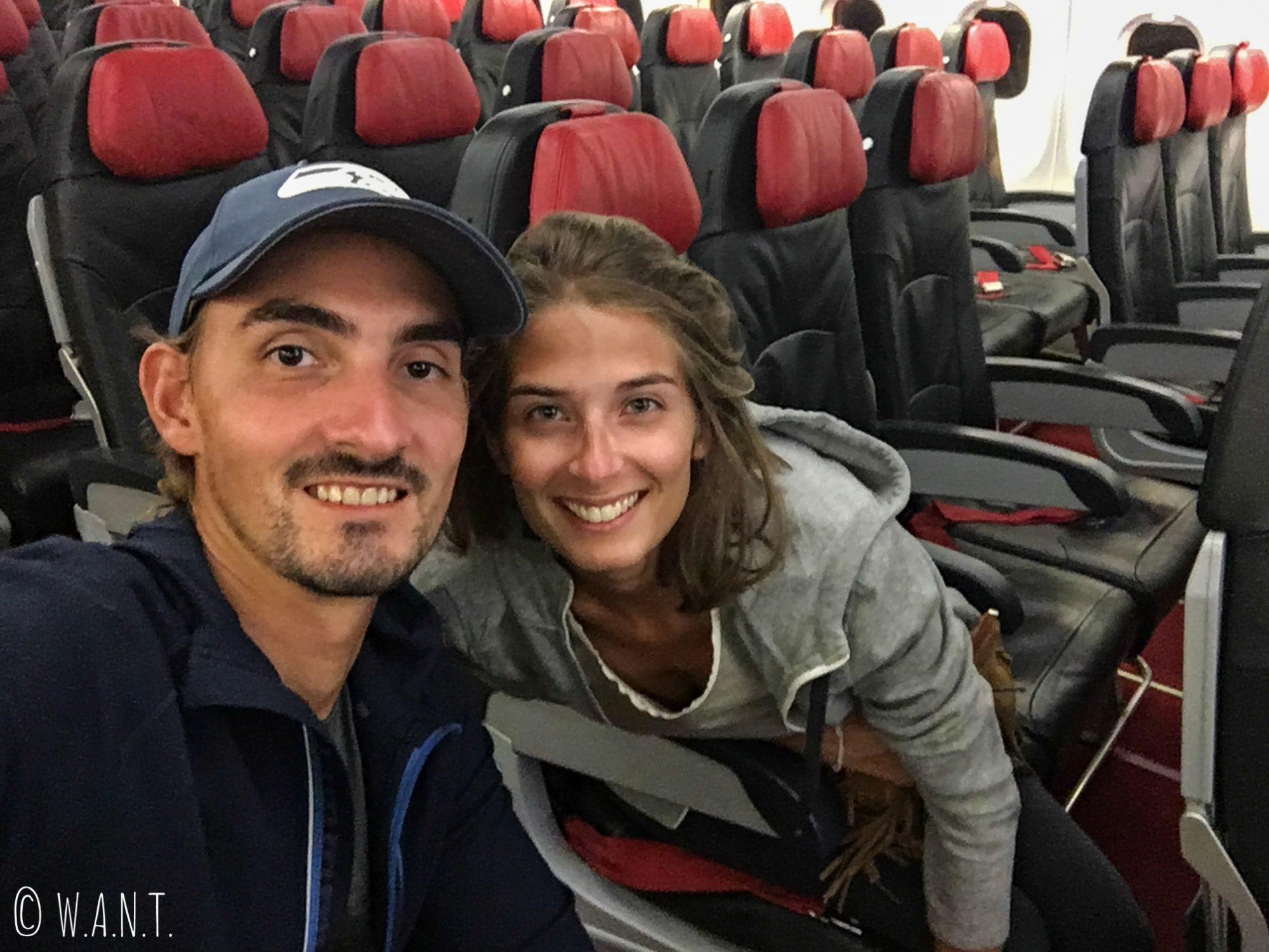 Selfie dans l'avion qui nous mène à Perth depuis Kuala Lumpur