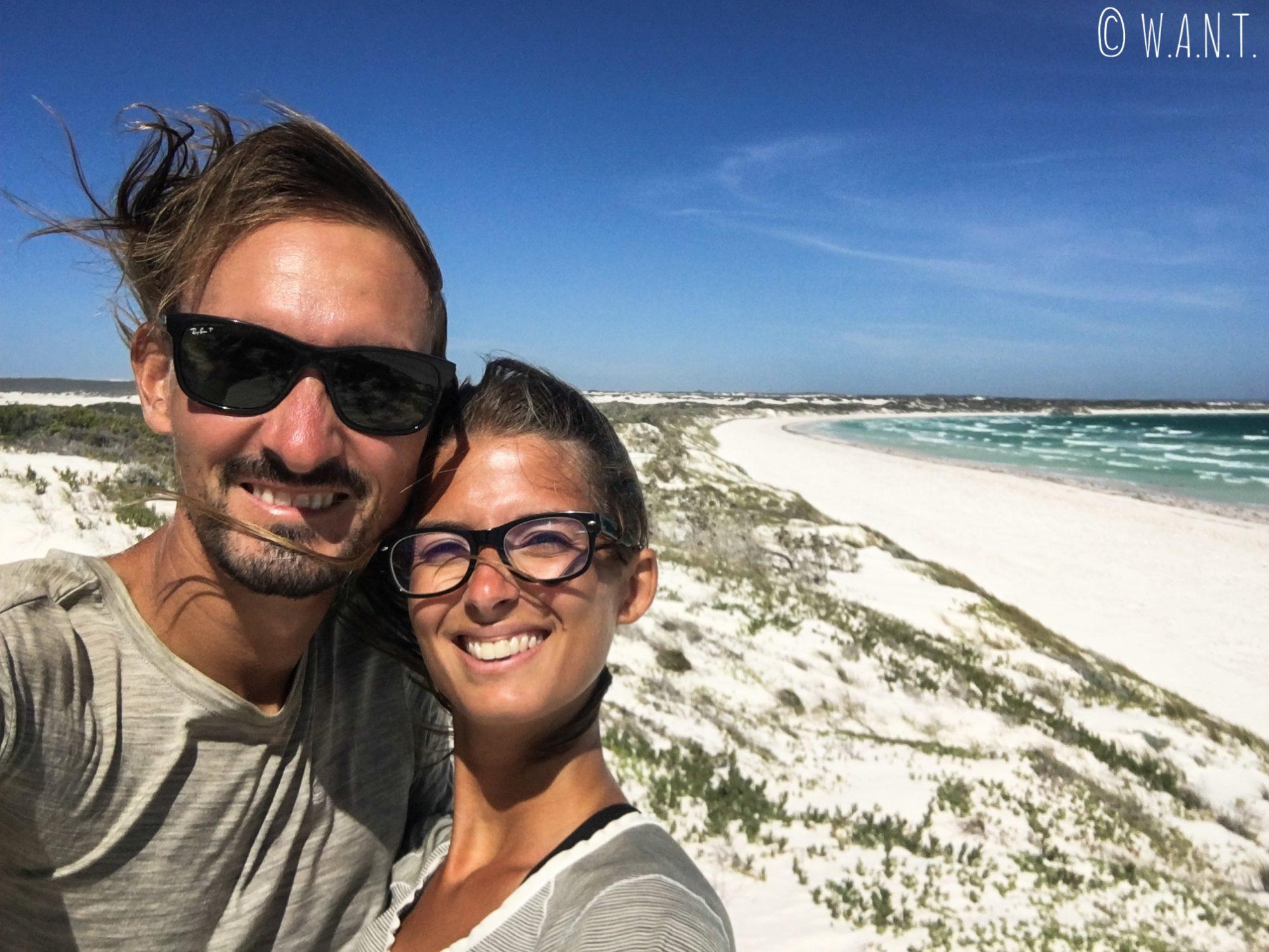 Selfie sur Wedge Island au nord de Perth