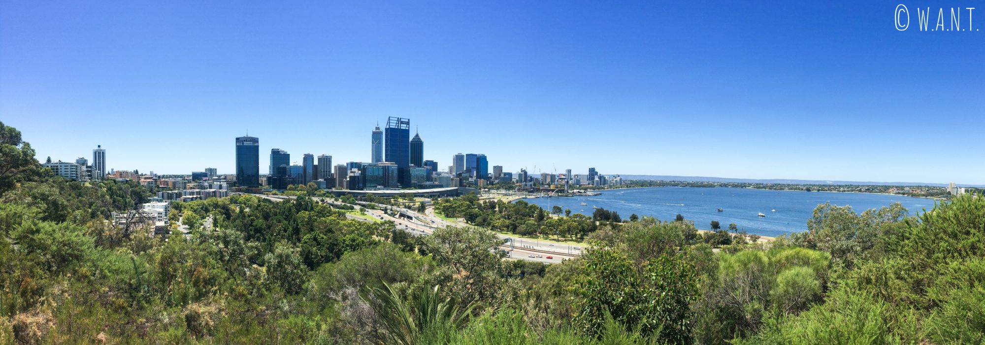 Vue sur la skyline de Perth depuis le Kings Park