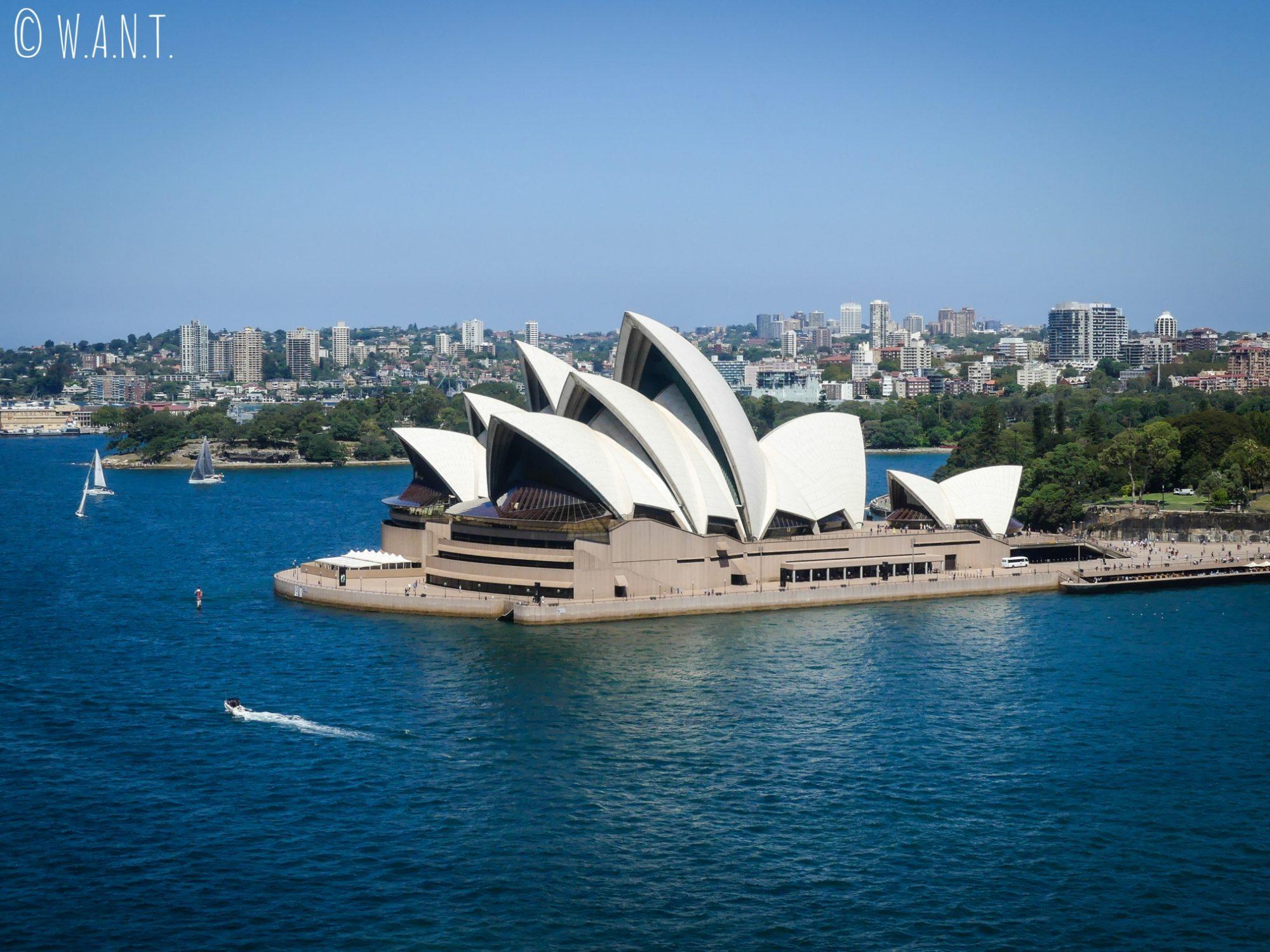 Vue sur l'opéra de Sydney depuis Harbour Bridge