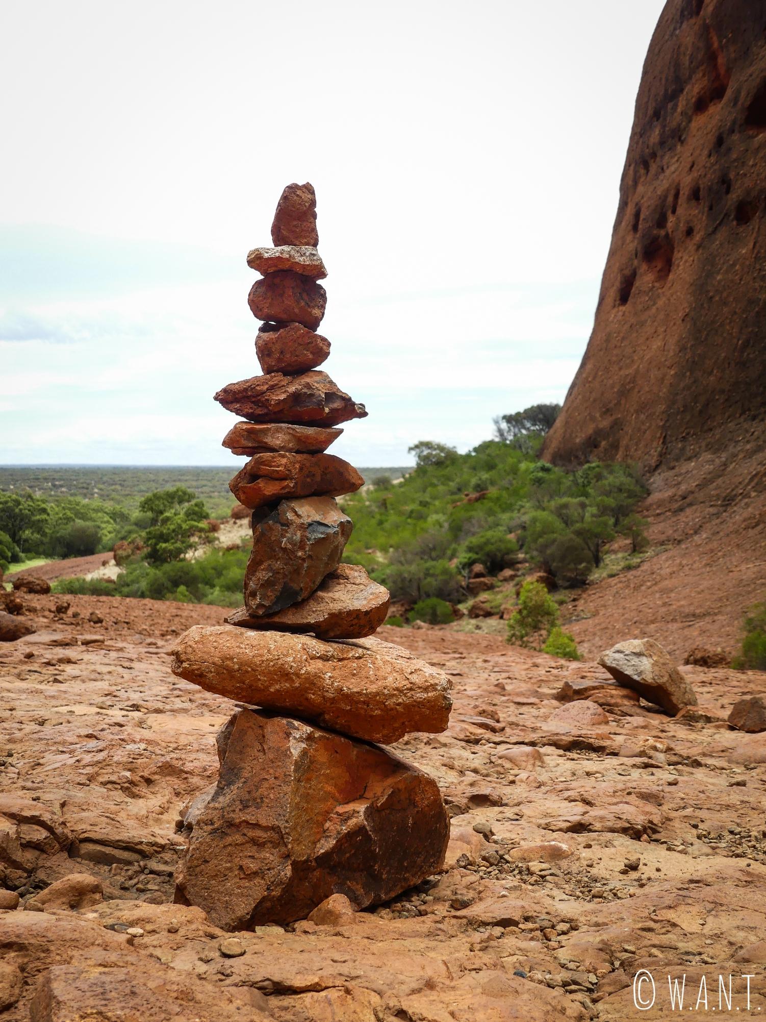 Cairns le long du trail Walpa Gorge dans le parc national Uluru-Kata Tjuta