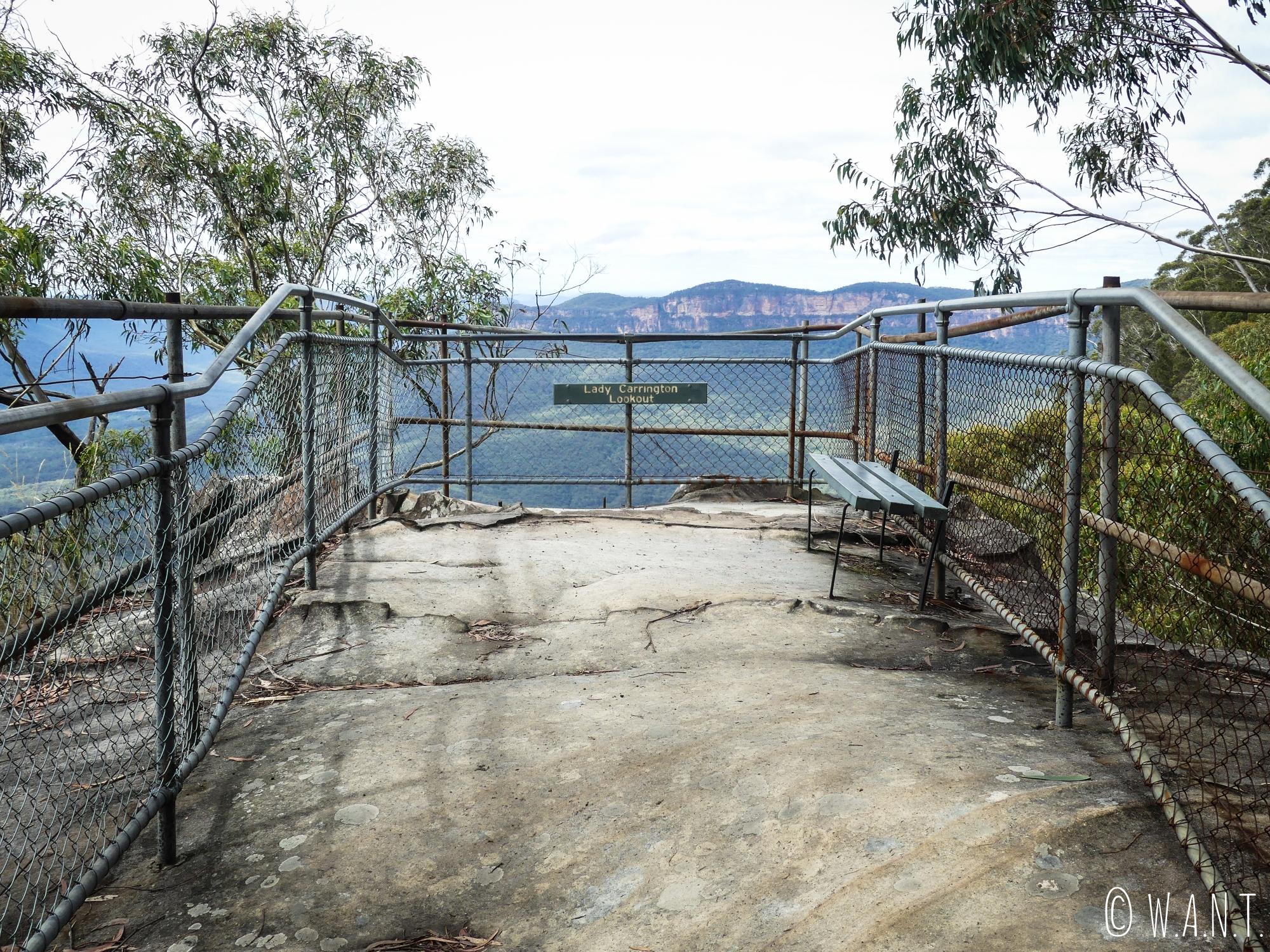 L'un des nombreux points de vue sur le trail du Prince Henry Cliff Walk, dans les Blue Mountains