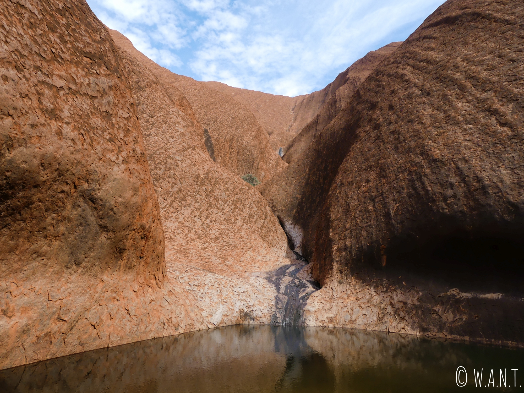 Paysage du Mutitjulu Waterhole le long de la randonnée Uluru Base Walk