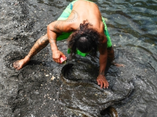 Anguilles dans la vallée de la Papenoo à Tahiti