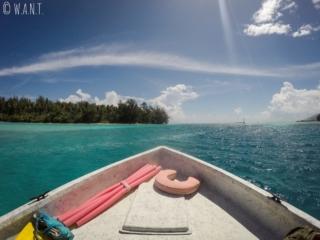 Bateau au fond de verre de Capitaine Taina, sur l'île de Moorea