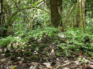 De nombreux Cairns sur le chemin du Col des 3 Cocotiers sur l'île de Moorea