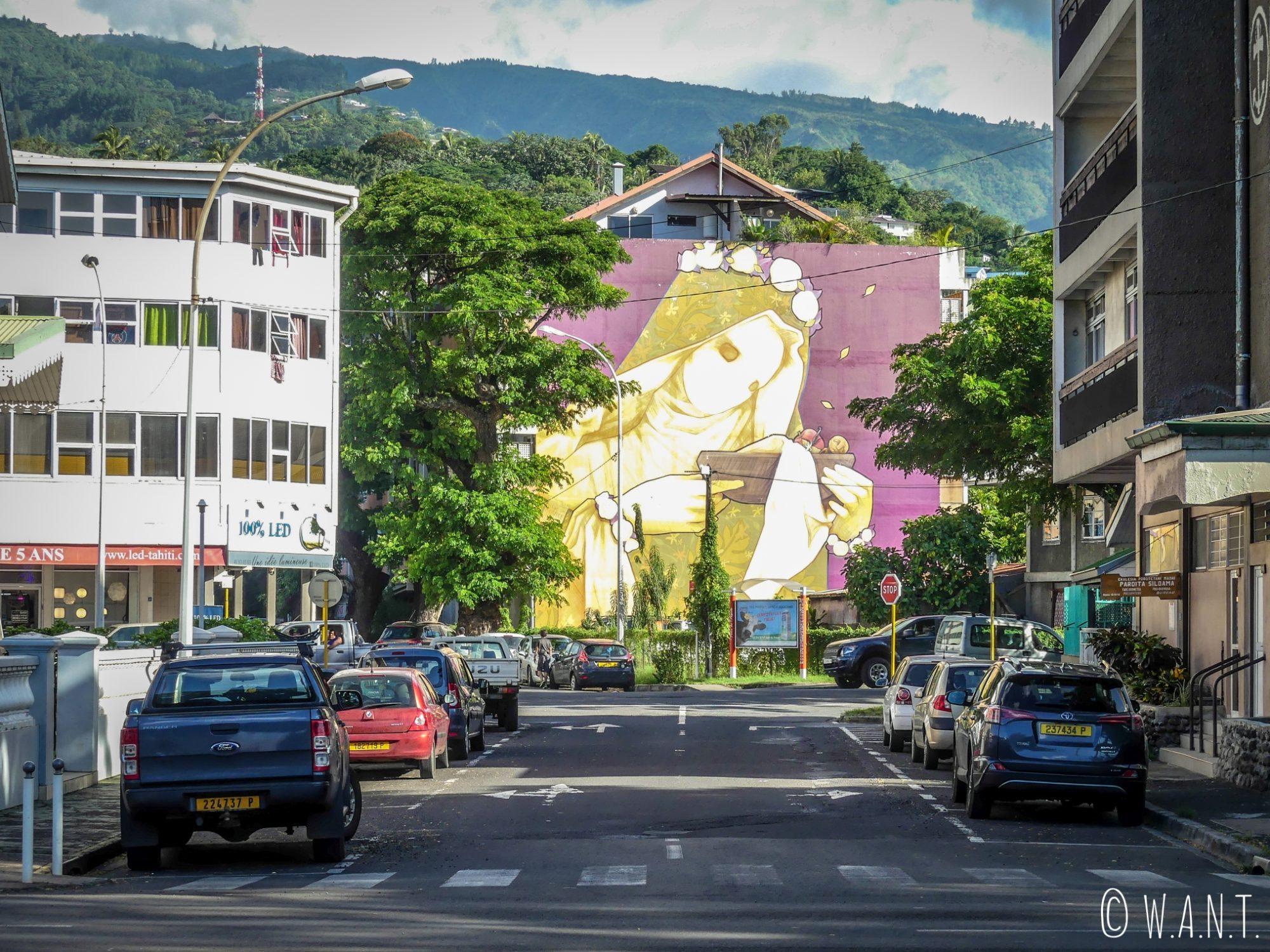 Fresque dans les rues de Papeete sur l'île de Tahiti