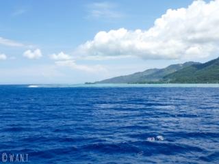 Lagon entourant l'île de Moorea depuis l'entrée de la baie de Vaiare