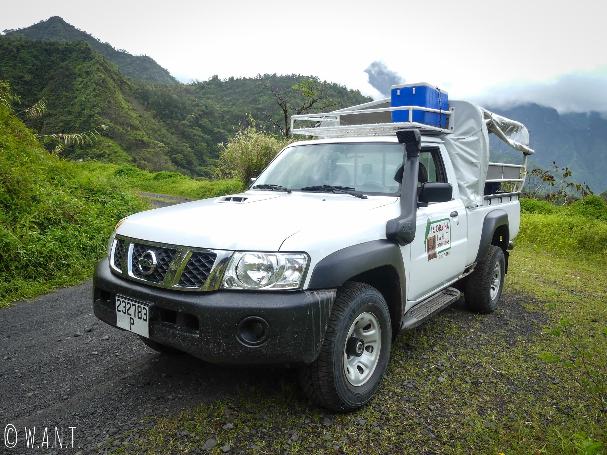 Notre pick-up pour visiter la vallée de la Papenoo à Tahiti