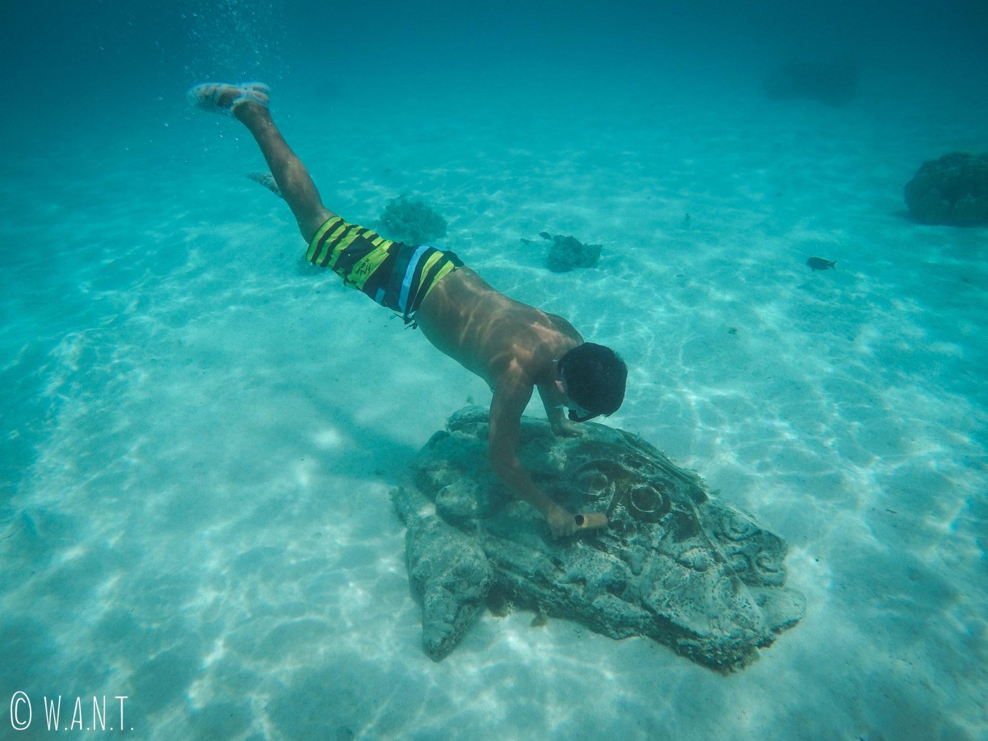 On trouve des scuptures sous-marine dans le lagon de Moorea