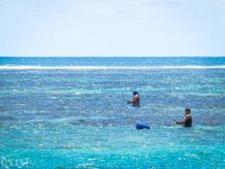 Pêcheurs dans le lagon de Tahiti