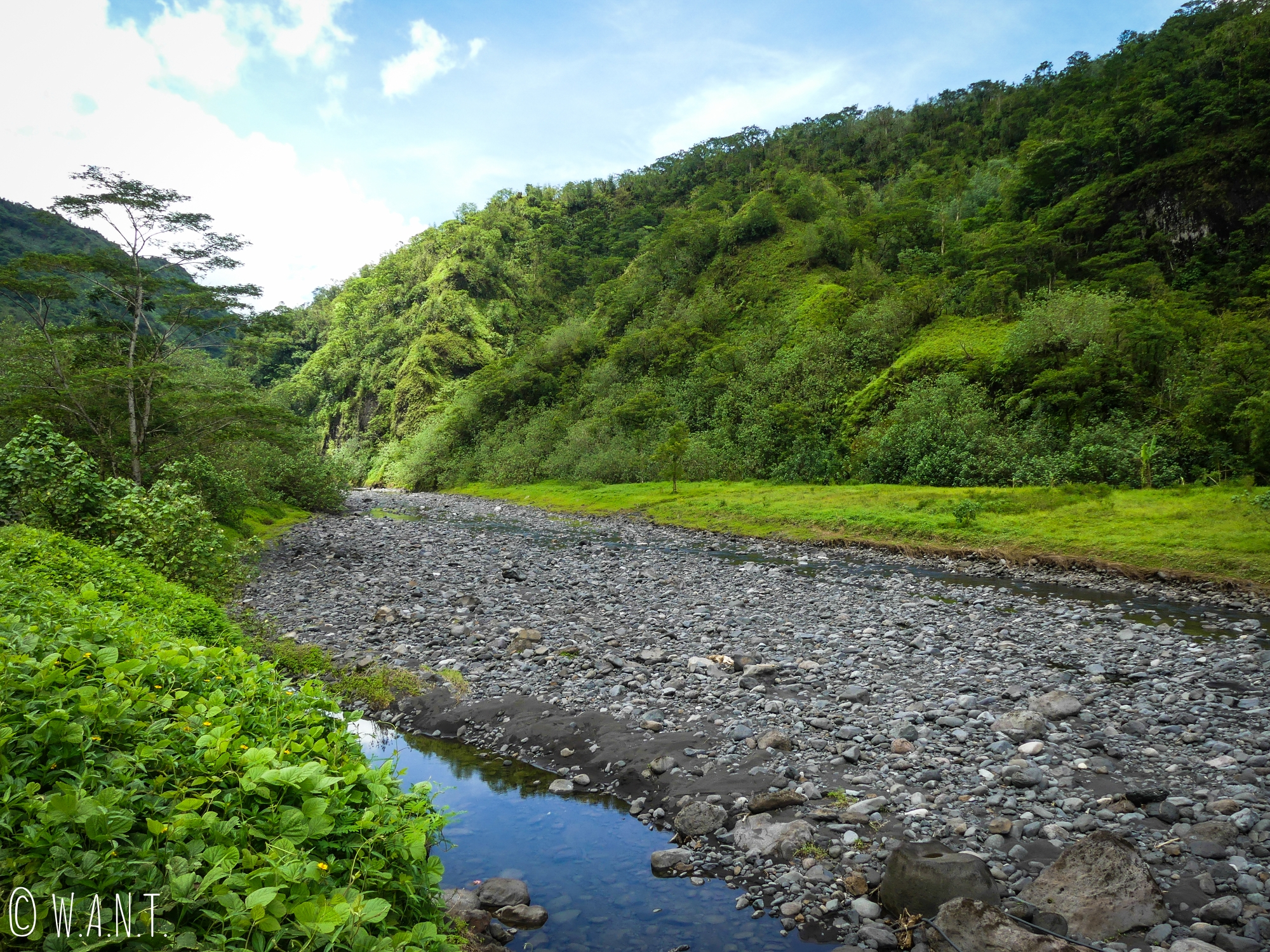 Paysage verdoyant de la vallée de la Papenoo à Tahiti