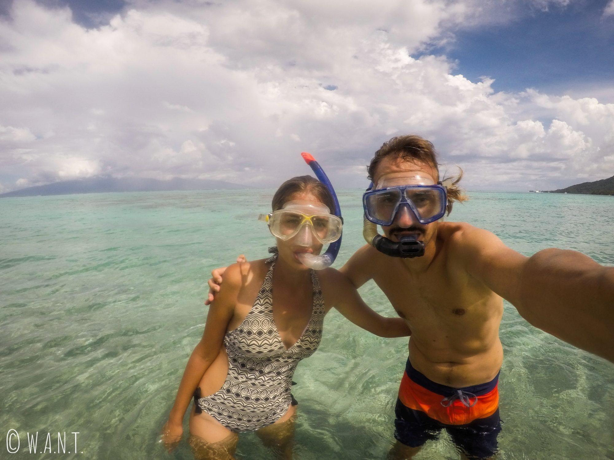 Petite séance de snorkeling depuis la plage de Temae, qui offre de superbes patates de corail
