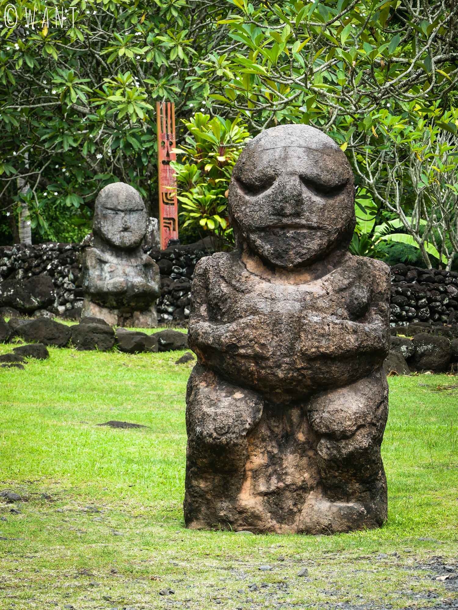 Tiki, statue représentant un homme-dieu, au Marae Arahurahu de Tahiti