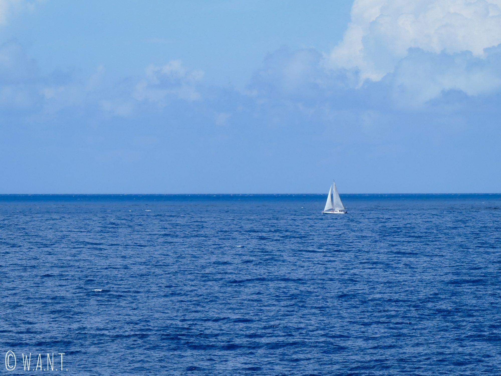 Voilier sur l'océan Pacifique entre Tahiti et Moorea