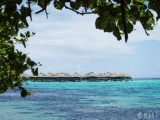 Vue sur le Hilton Moorea Lagoon Resort sur l'île de Moorea