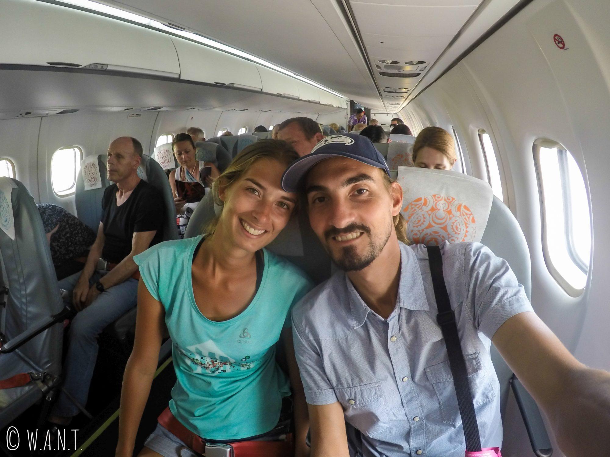 A bord de notre ATR en direction de Papeete