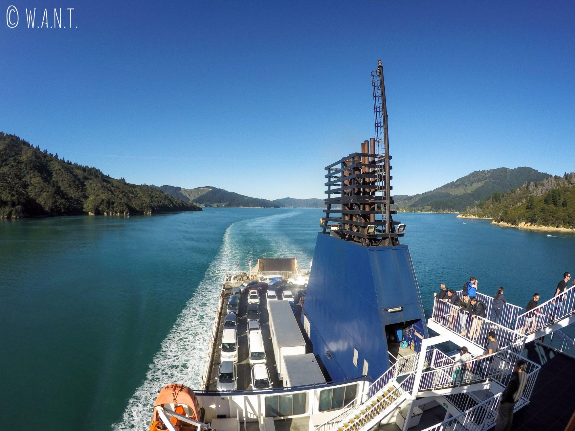 A bord du ferry reliant Wellington à Picton en Nouvelle-Zélande
