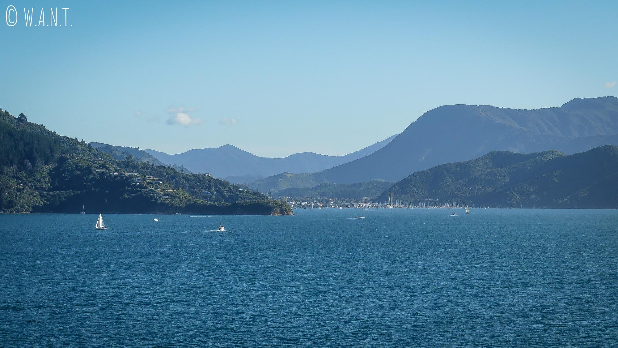 Arrivée à Picton en ferry depuis Wellington en Nouvelle-Zélande