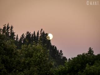 Lever de lune et soleil couchant dans la région de Malborough Sounds en Nouvelle-Zélande