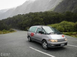 Notre van Spaceship, utilisé lors de notre road trip en Nouvelle-Zélande