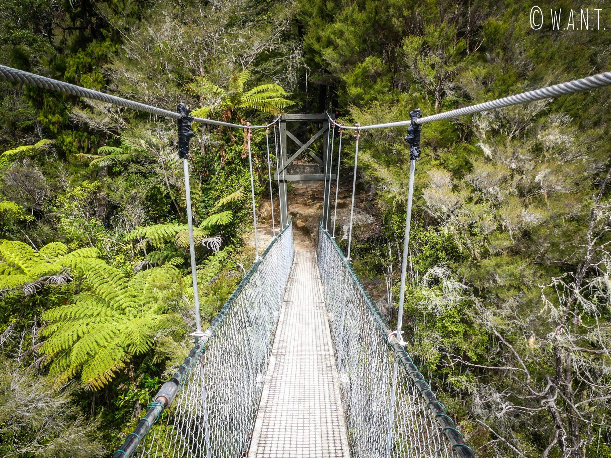 Nous traversons de nombreux ponts suspendus durant la randonnée Abel Tasman Coast Track en Nouvelle-Zélande
