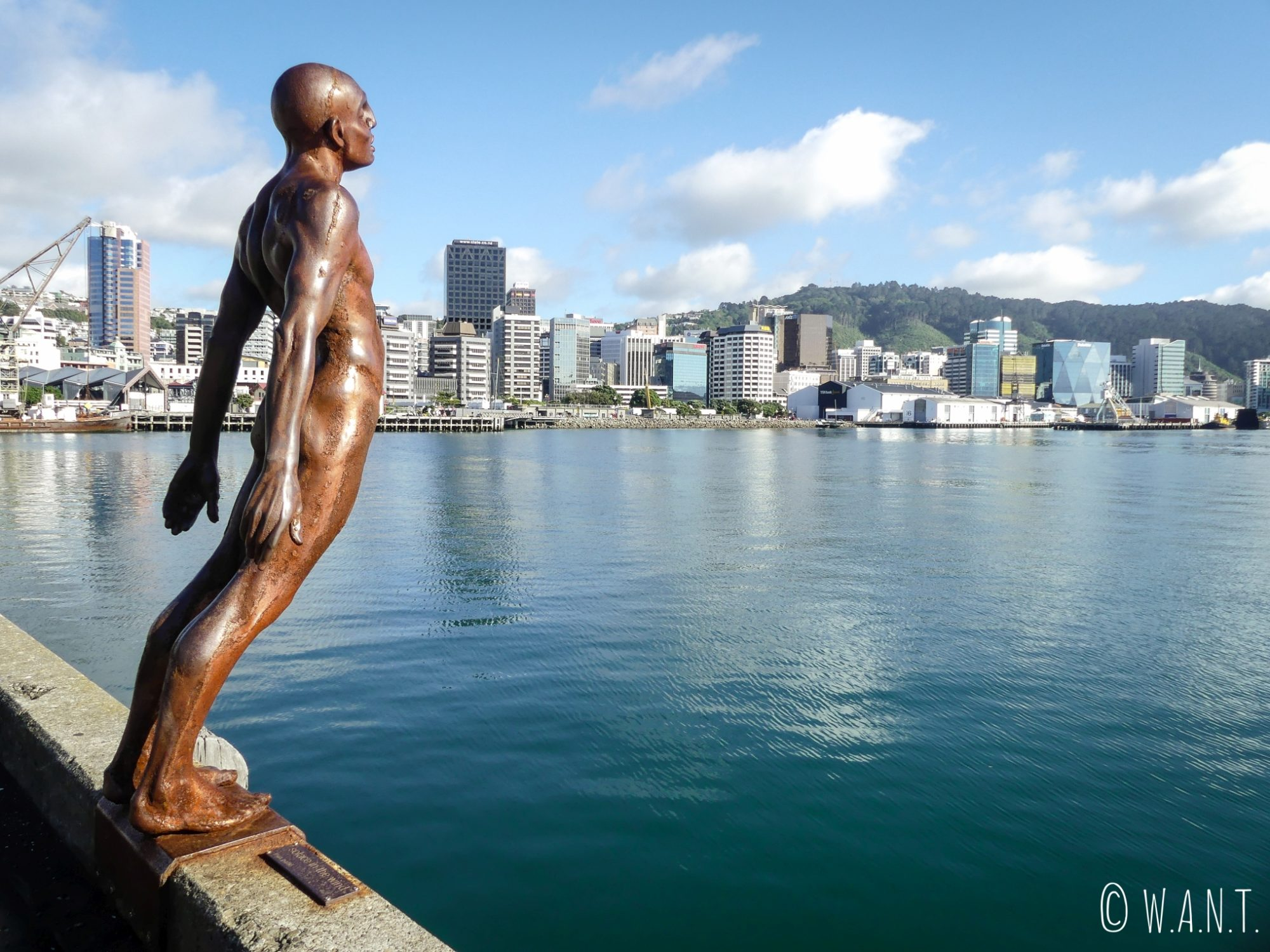 Statue célèbre, nommée Solace of the Wind, sur le port de Wellington