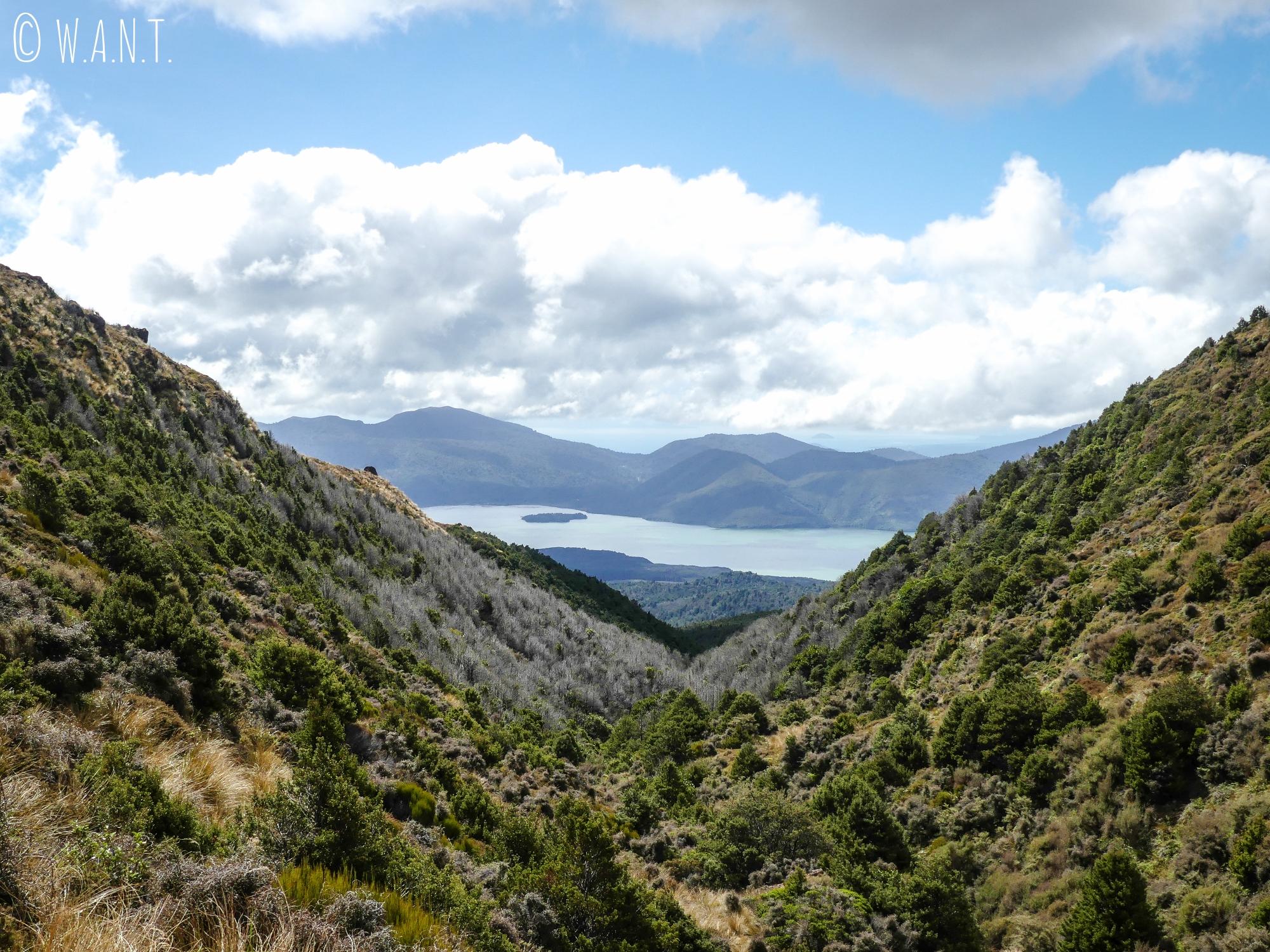 Vue sur le lac Taupo dans la dernière portion de la randonnée « Tongariro Alpine Crossing » en Nouvelle-Zélande