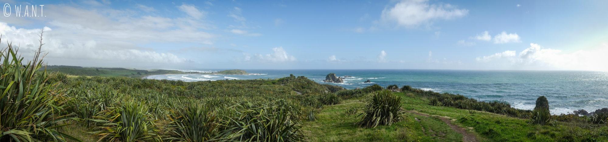Panorama depuis la randonnée du Cape Foulwind en Nouvelle-Zélande