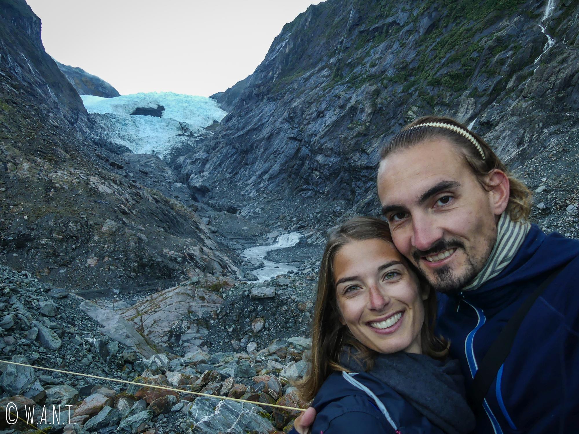 Selfie devant le Franz Joseph Glacier en Nouvelle-Zélande