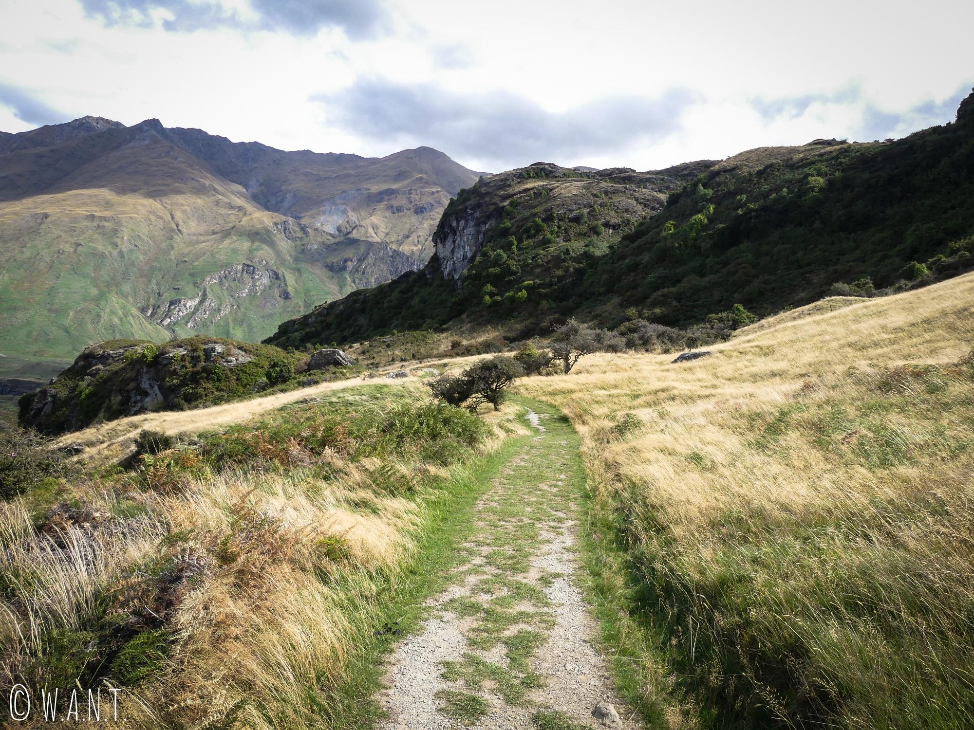 Chemin de randonnée à travers les pâturages du Diamond Lake près de Wanaka en Nouvelle-Zélande