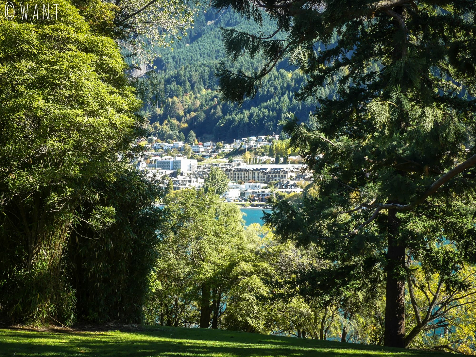 Vue sur le bord de lac depuis le Queenstown Gardens en Nouvelle-Zélande