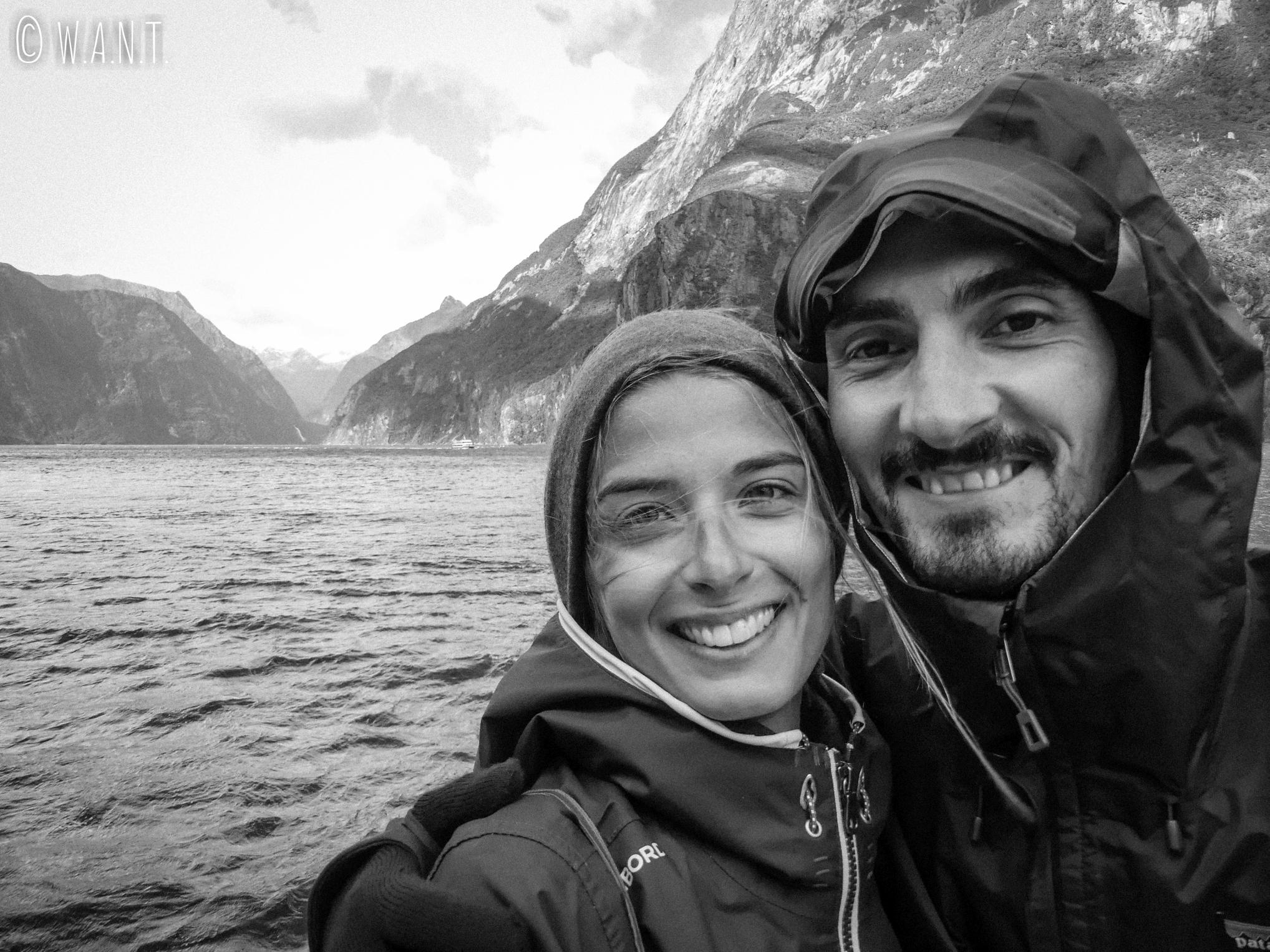 Selfie durant notre croisière sur le Milford Sound en Nouvelle-Zélande