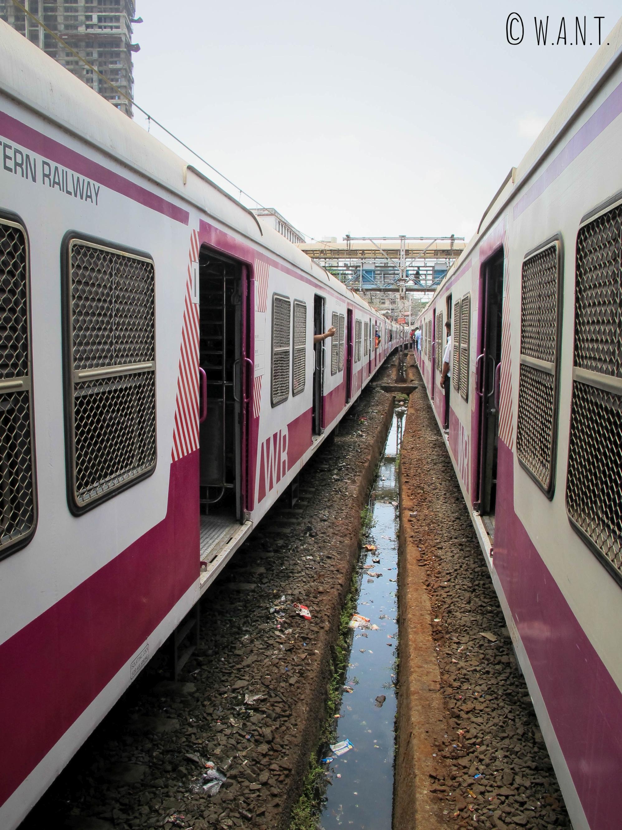 Croisement de deux métros à la station Mumbai Central
