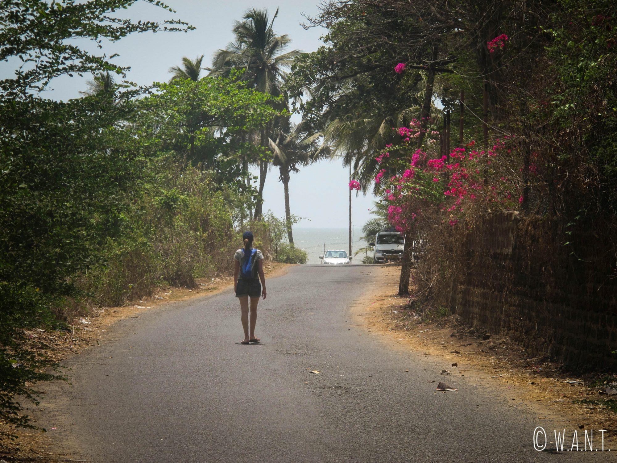 En route pour la plage, nous avons dix minutes de marche depuis notre Guest House