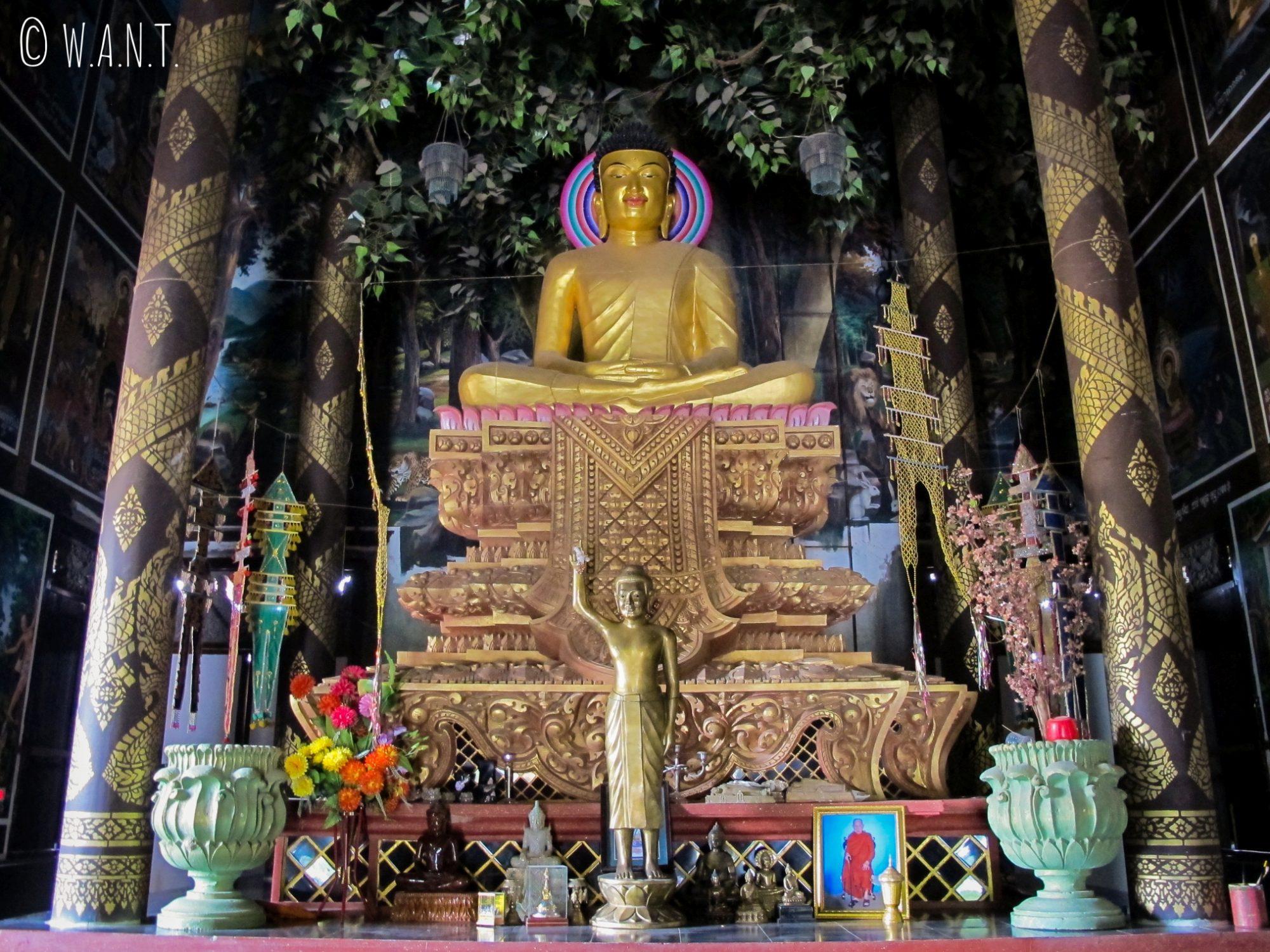 A l'intérieur du monastère du Cambodge situé à Lumbini, Bouddha est représenté sous le Bodhi tree