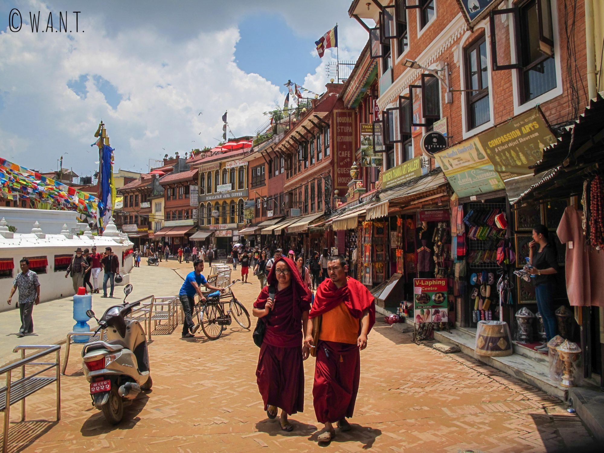 L'architecture du quartier autour du stupa Bodnath est très typique