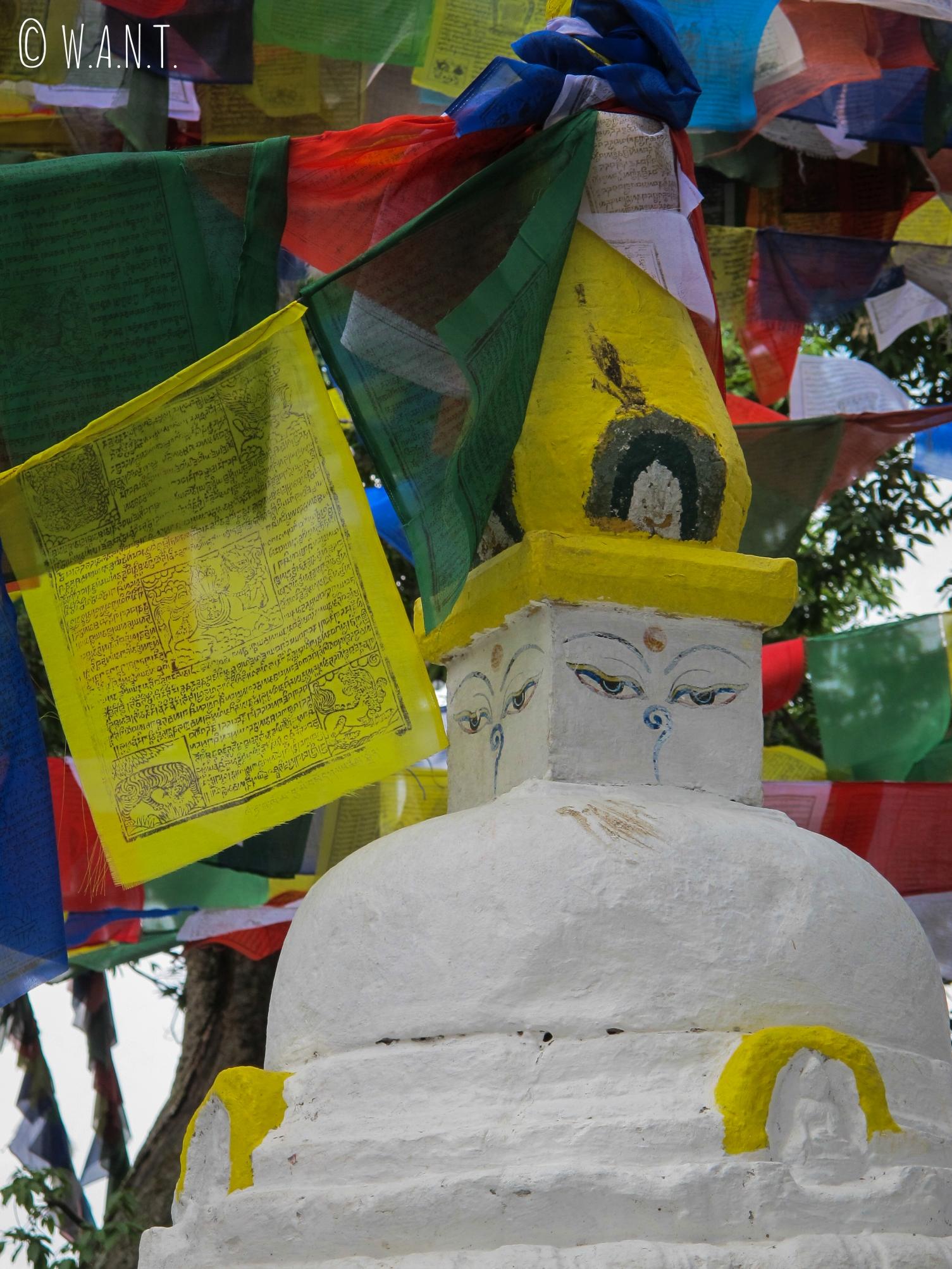Petit stupa entouré de loungtas sur la colline du stupa Swayambhunath