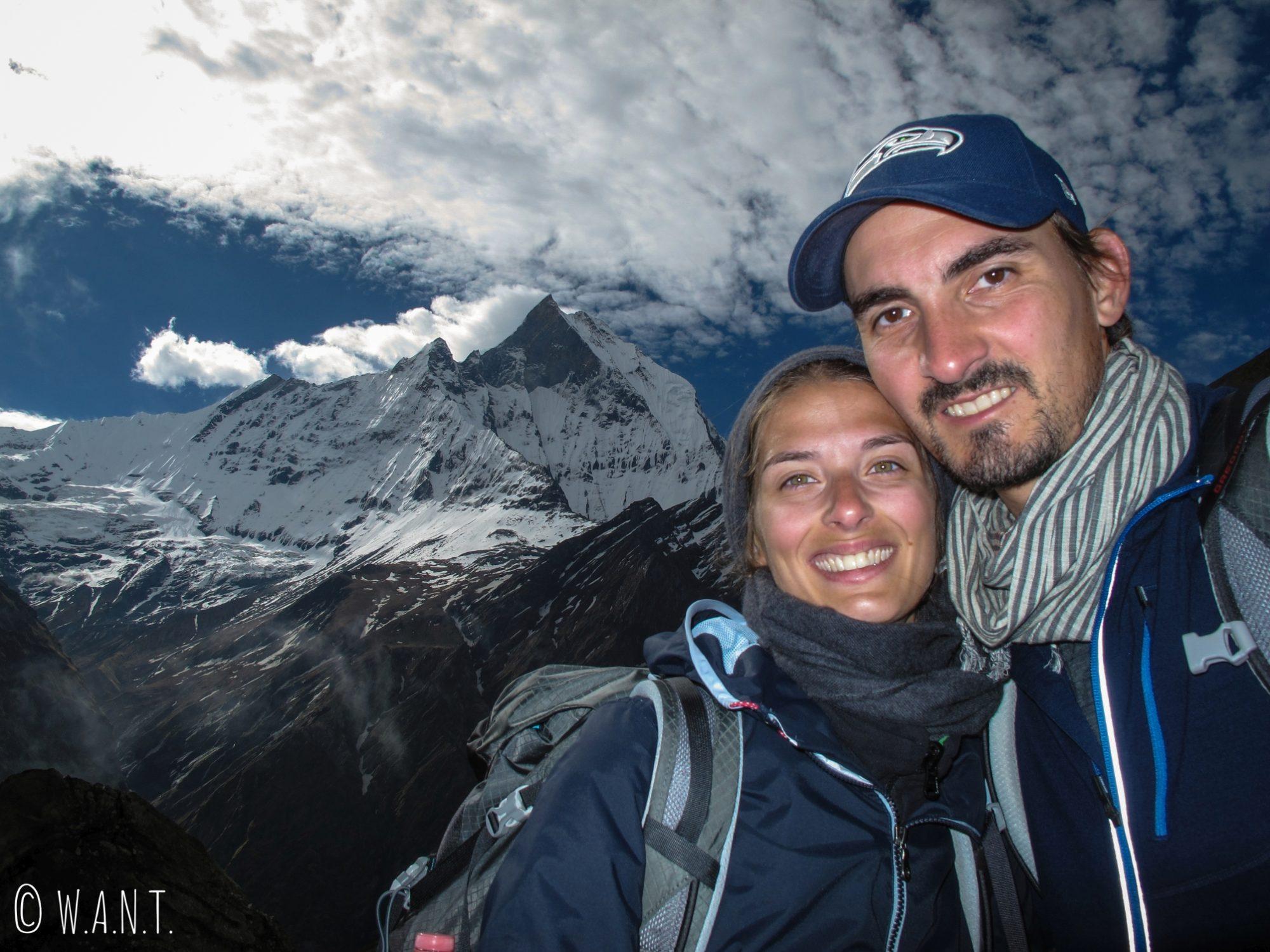 Selfie devant le Machhapuchhre, aussi magnifique que sacré