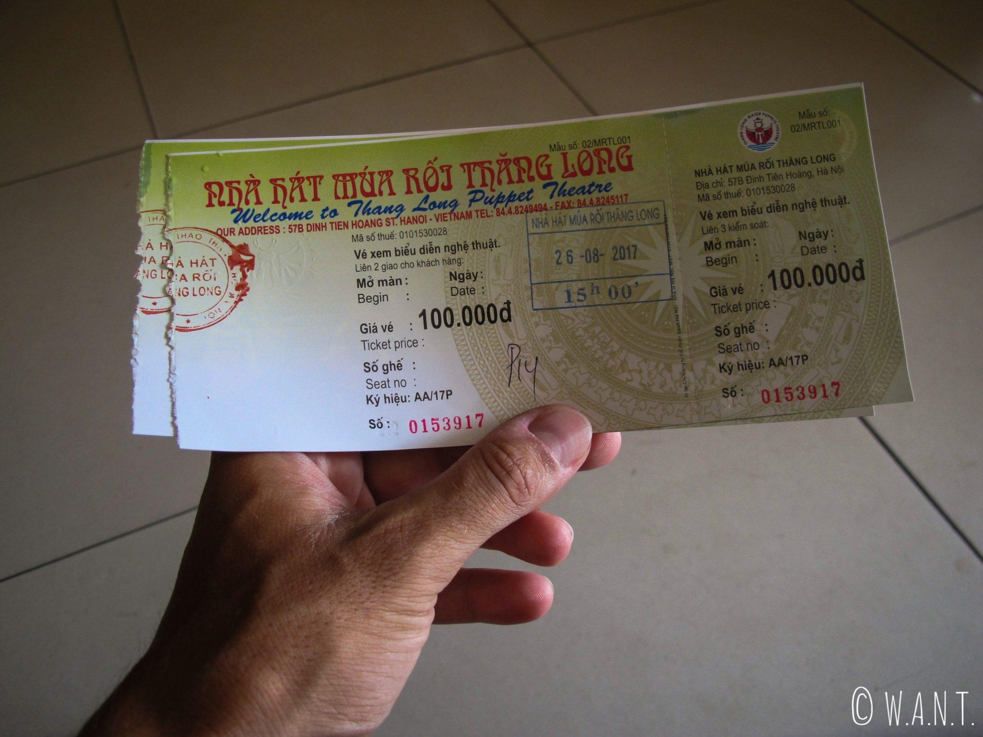 Ticket pour le spectacle Water Puppet du théâtre Thang Long à Hanoï