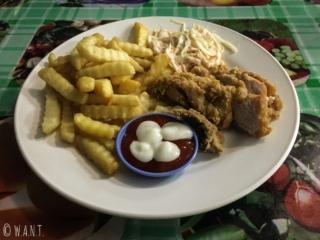 Chicken Coleslaw et frites au Bako National Park