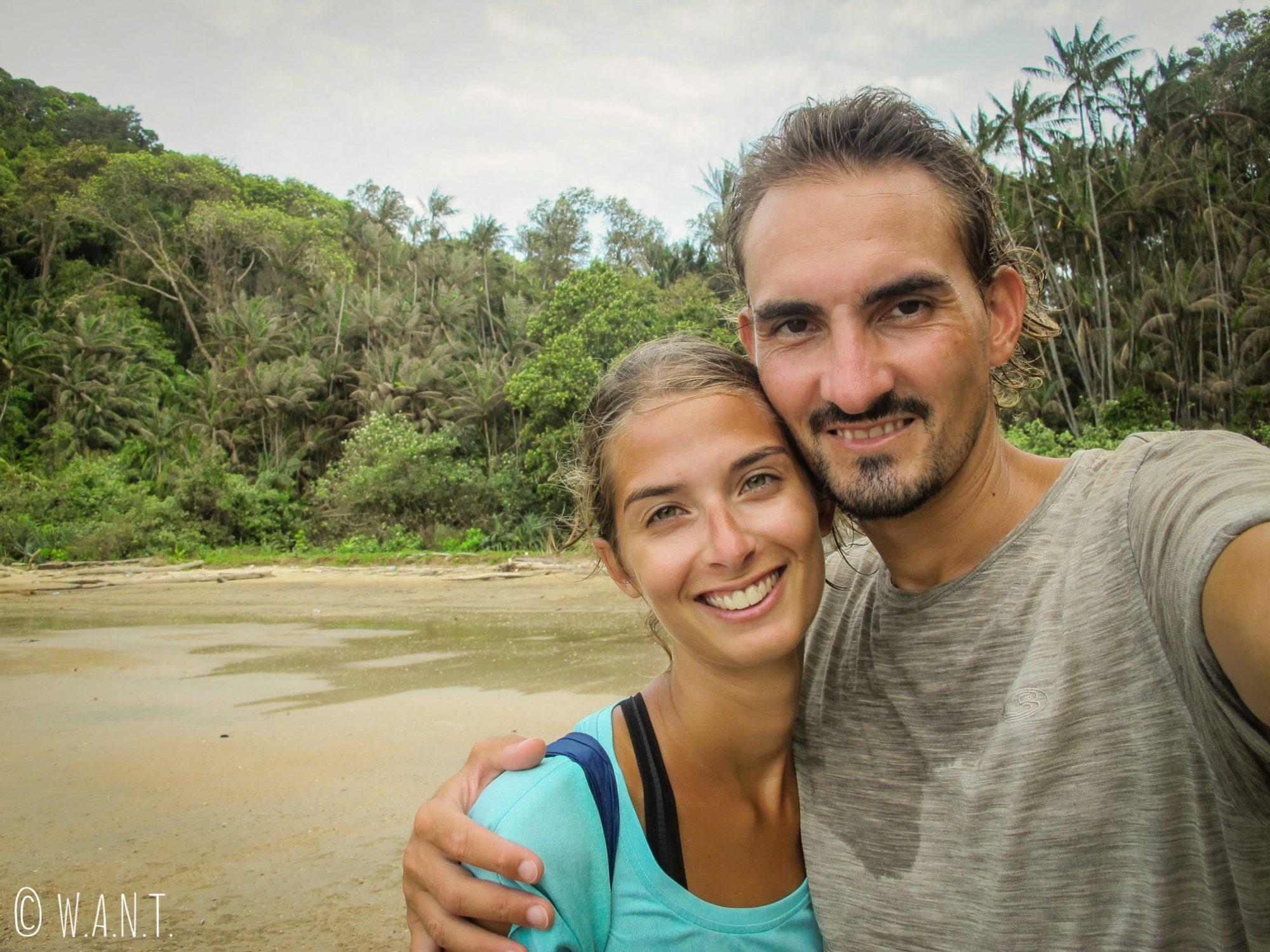 Selfie sur la plage Telok Pacu au Bako National Park