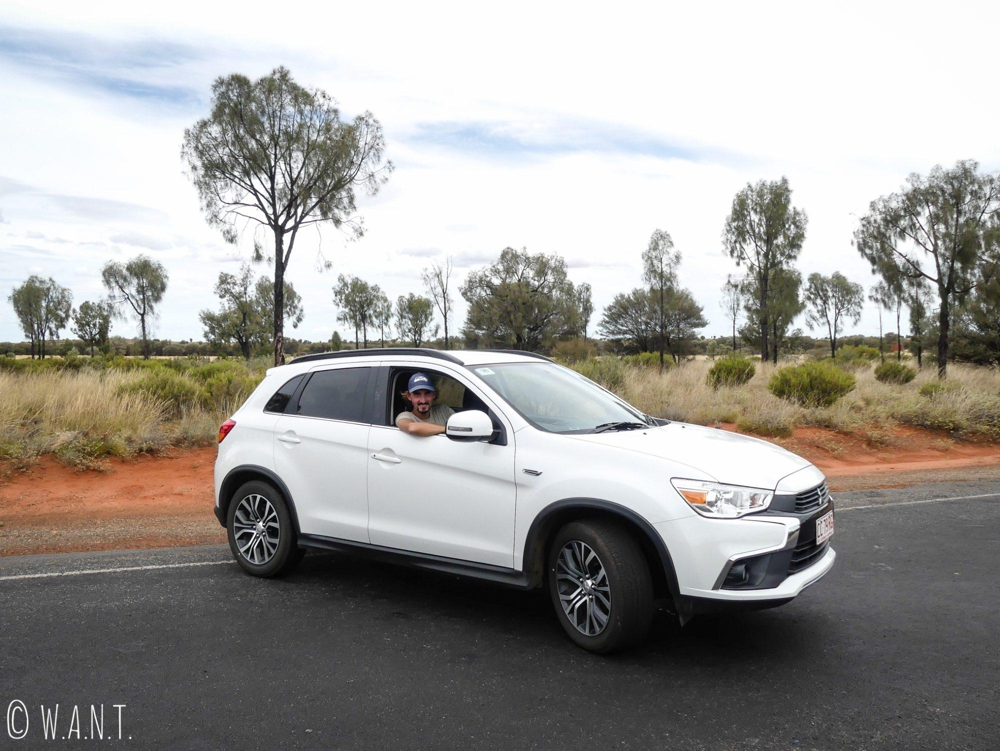 Notre voiture de location durant nore séjour au parc national Uluru-Kata Tjuta