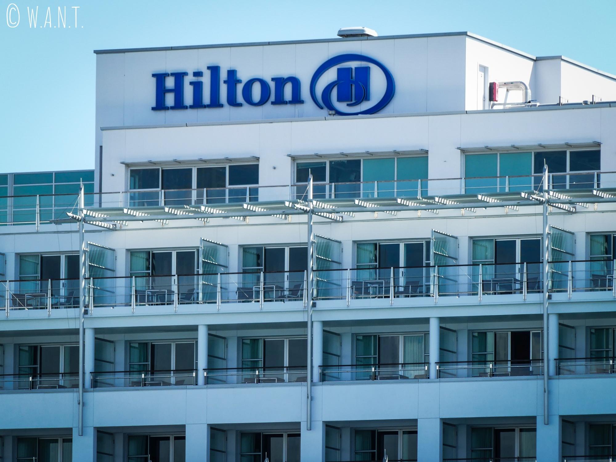 L'hôtel Hilton de Auckland, situé sur les docks de la ville